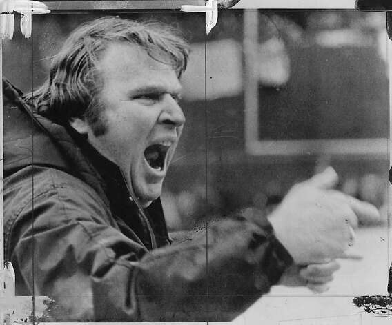 John Madden shouts from sidelines. Photo: AP 1975