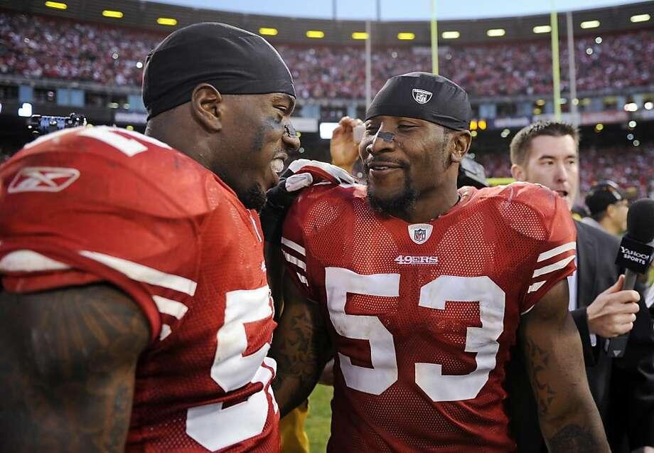 Patrick Willis (left, with NaVorro Bowman) showed a lack of NFL knowledge when he criticized NFL Network's Matt Millen. Photo: Greg Trott, ASSOCIATED PRESS