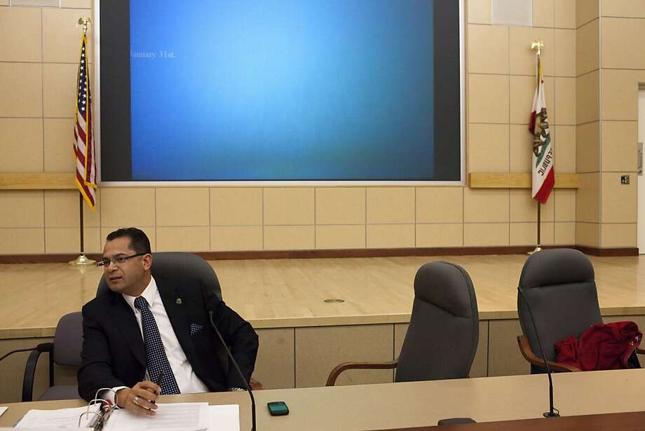 Assemblymember Victor Manuel Perez sits at the panel desk in the auditorium of the Elihu Harris State Office Building where state and local officials meet to discuss how to improve life chances for young men of color on Friday, January 20, 2011 in Oakland, Calif. Photo: Dania Maxwell, Special To The Chronicle