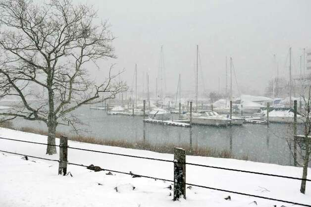 Snow falls in Stamford on Saturday, January 21, 2012. Photo: Lindsay Niegelberg / Stamford Advocate