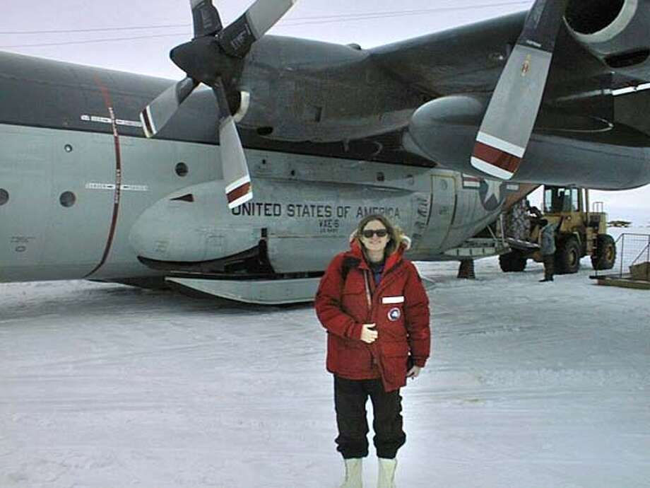 Photo of scientist Luann Becker in Antarctica.