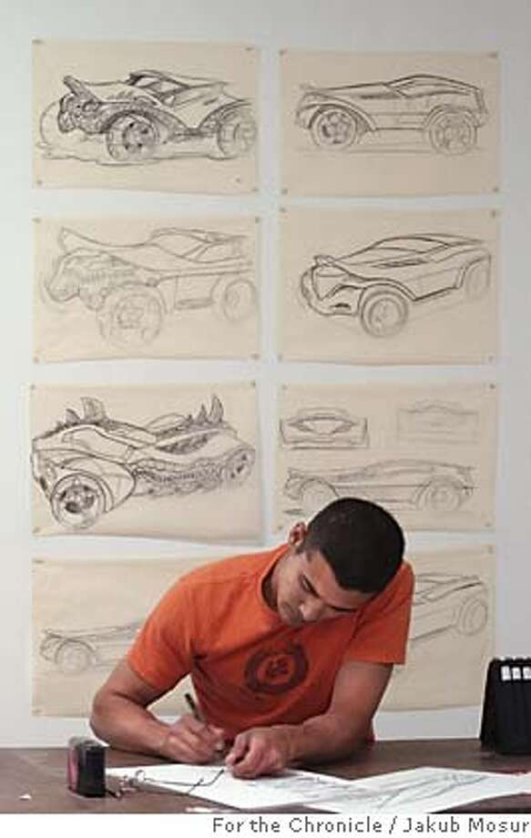 CarDesign01_JMM.JPG  Jonathan Bach draws concept sketches of a car in the Transportation Department at The Art Center College of Design in Pasadena. The Art Center College of Design, in Pasadena, is the premier training ground for the desigers of automobiles of virtually every major auto manufacturer, in the U.S., Europe and Japan. Event on 5/23/05 in Pasadena. JAKUB MOSUR / The Chronicle MANDATORY CREDIT FOR PHOTOG AND SF CHRONICLE/ -MAGS OUT Photo: JAKUB MOSUR