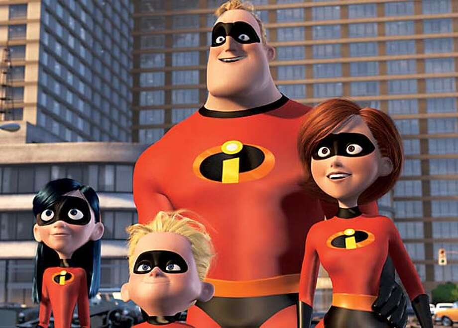 """(Left to right) Violet Parr, Dashiel """"Dash"""" Parr, Mr Incredible, and Elasticgirl, in Walt Disney Pictures/Pixar Animation Studios' """"The Incredibles."""" (AP Photo/Walt Disney Pictures/Pixar Animation) Ran on: 11-05-2004  Mom, dad and the kids: suited up in the suburbs in &quo;The Incredibles.&quo; Ran on: 11-05-2004 Ran on: 11-05-2004 Ran on: 11-16-2004  Violet Parr, Dash Parr, Mr. Incredible and Elastigirl in &quo;The Incredibles&quo; are big moneymakers. Datebook#Datebook#SundayDateBook#12/12/2004#ALL#Advance##0422449175"""
