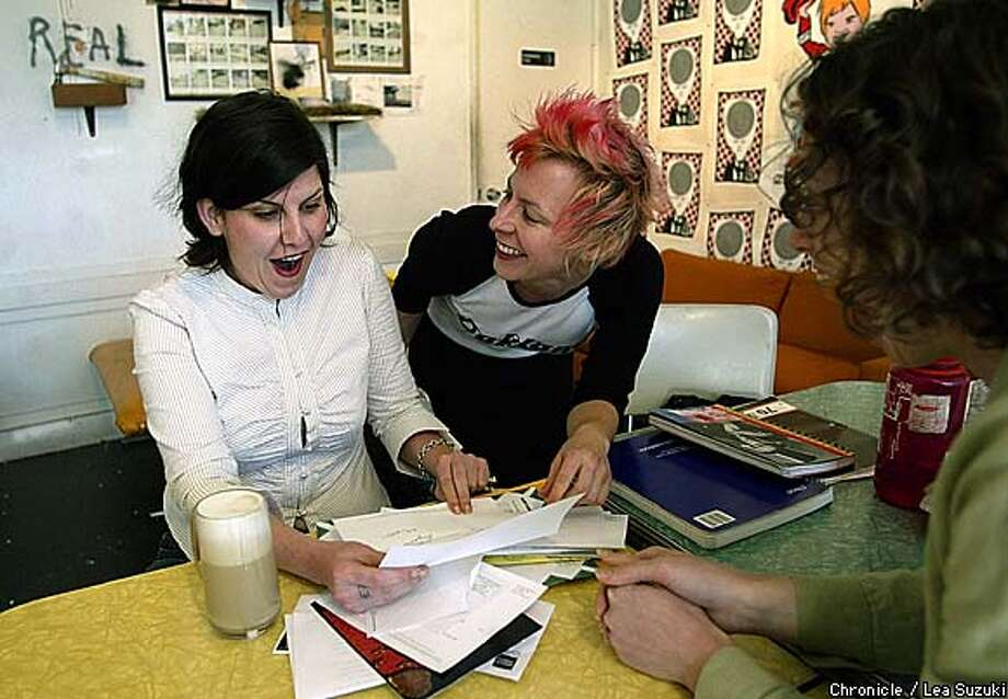 From left: Antonia Blue, Publisher; Jen Loy , Editor in Chief; Stephanie Groll, Political Editor. Blue reacts to a letter she receives from Supervisor Matt Gonzalez in a stack of company mail. The second issue of Kitchen Sink magazine just came out. This general interest, culture magazine out of Oakland has tapped into a particular hipster 30-ish scene. Some 400 people came to the party for the first issue. Editor Jen Loy is also co-owner of the new cafe/gallery Mama Buzz in downtown Oakland. Neighborhood observers say that the magazine and the crowd that's been hanging out at the cafe are helping to promote the neighborhood arts and retail scene. Photo By Lea Suzuki/ San Francisco Chronicle Photo: LEA SUZUKI