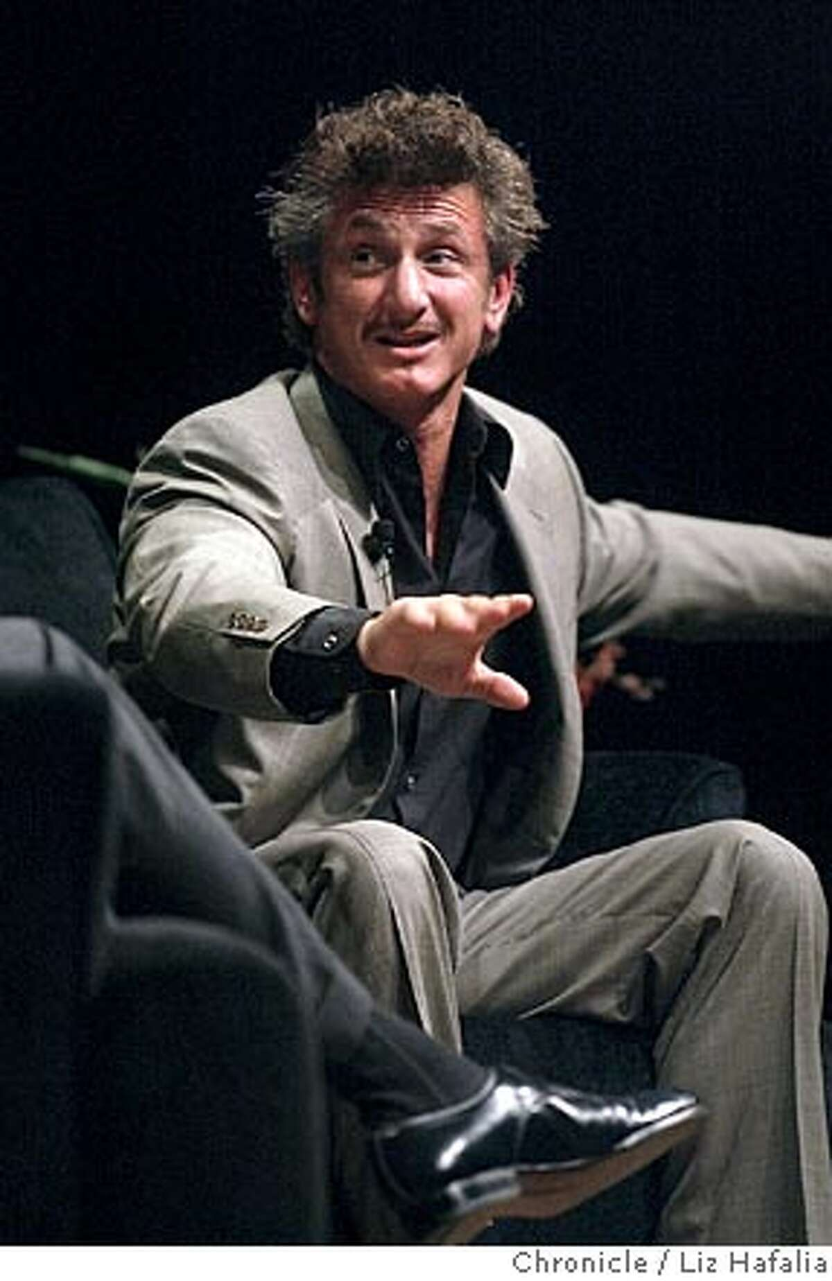 PENN_082_LH.JPG An evening with Sean Penn at the Palace of Fine Arts. Shot on 9/10/04 in San Francisco. LIZ HAFALIA / The Chronicle Ran on: 09-13-2004 The Boss, Bruce Springsteen, embraces his friend Sean Penn after presenting the actor with the Steinbeck Award, given annually by the Center for Steinbeck Studies. MANDATORY CREDIT FOR PHOTOG AND SF CHRONICLE/ -MAGS OUT