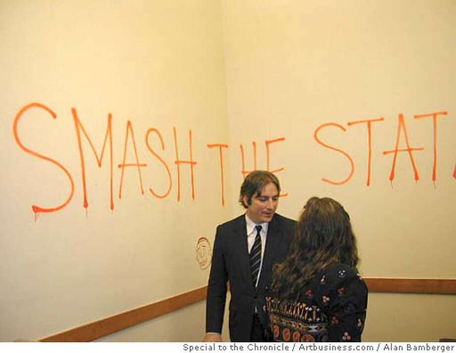 San Francisco supervisor Matt Gonzalez attends an opening in his City Hall office. Artist Barry McGee created the piece behind Gonzalez. MUST CREDIT: ALAN BAMBERGER /ARTBUSINESS.COM/SPECIAL TO THE CHRONICLE Photo: ALAN BAMBERGER /ARTBUSINESS.COM/