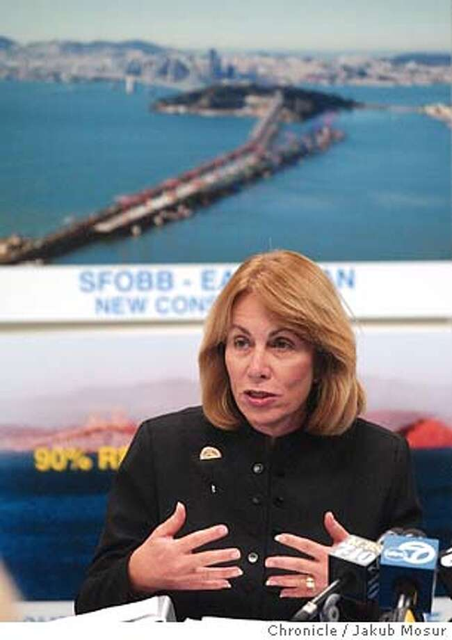 Sunne Wright McPeak, secretary of California's Business, Housing and Transportation Agency, announces the current status of the Bay Bridge east span construction project at a Caltrans press conference in San Francisco, Friday Dec. 10, 2004. The Schwarzenegger administration has decided to abandon an expensive suspension design for the San Francisco-Oakland Bay Bridge's new eastern span in favor of a cheaper concrete skyway, state officials said Friday. (AP Photo/The San Francisco Chronicle, Jakub Mosur) MANDATORY CREDIT FOR PHOTOG AND SF CHRONICLE/ -MAGS OUT Photo: JAKUB MOSUR