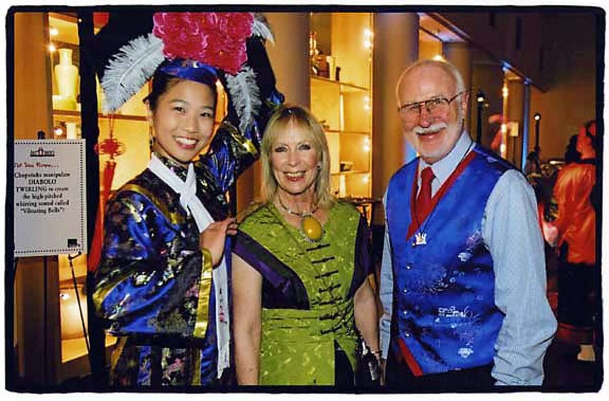 (From left) Peony performance artist, Diane Schafer, George Lucas.