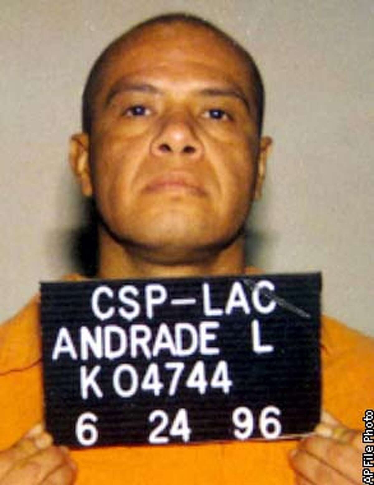 ** FILE ** This is an undated California Department of Corrections photo of Leandro Andrade. The Supreme Court decided Wednesday, March 5, 2003, to uphold long sentences meted out in two cases under the nation's toughest three-time offender law. The court reversed a federal appeals court ruling which had found Andrade's sentence unconstitutional. Andrade, a heroin addict had previous burglary convictions when he was caught shoplifting $153 worth of videocassettes from K-Mart. Under California's three-strikes-you're-out law, he'll be at least 87 when he gets out of prison. (AP Photo/Calif. Department Of Corrections, file)