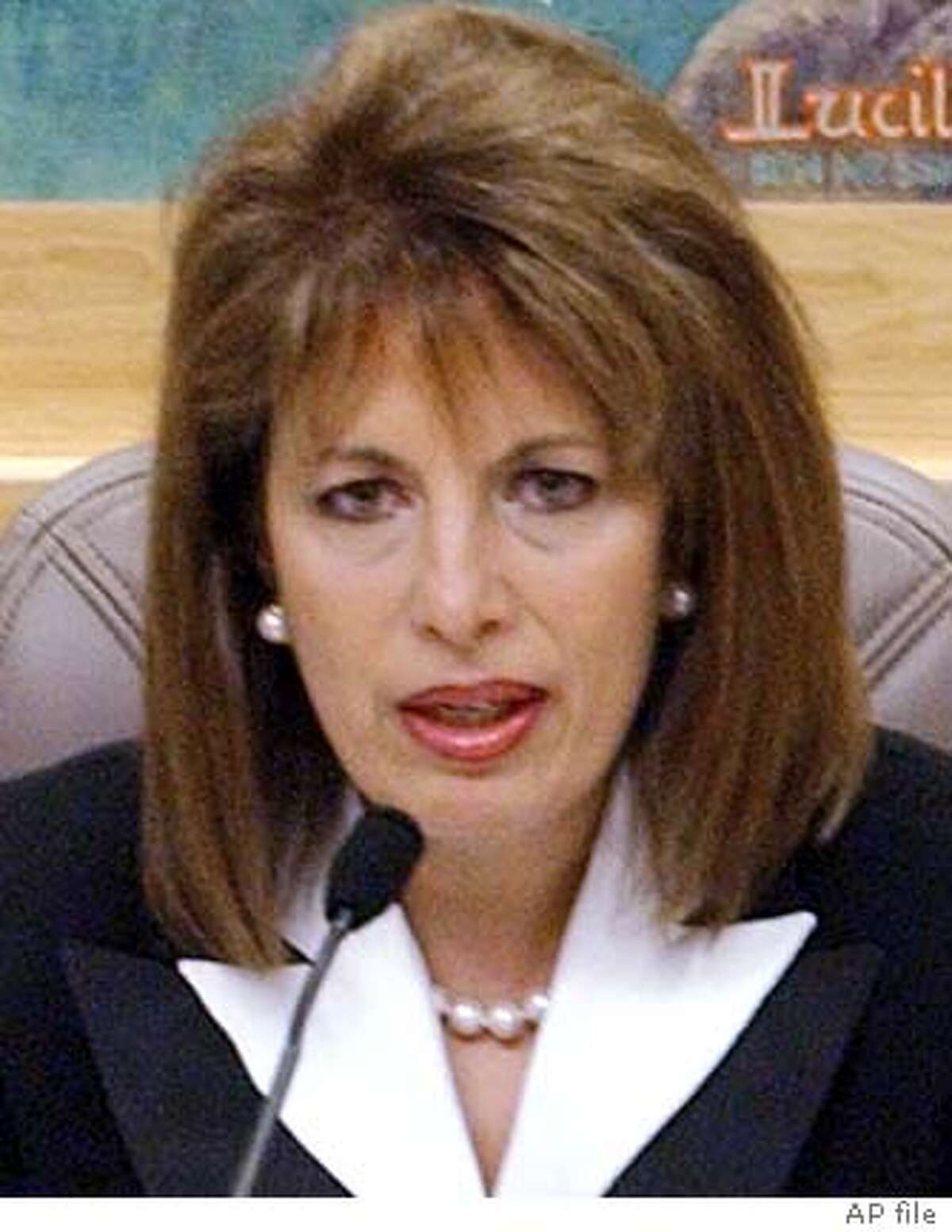 State Sen. Jackie Speier, D-Daly City, right, questions Mike Jimenez, head of the California Correctional Peace Officers Association, seated back to camera, during a hearing looking into alleged wrongdoing involving staff at Folsom Prison, at the Capitol in Sacramento, Calif., Tuesday, Jan. 20, 2004. At left is state Sen. Gloria Romero.(AP Photo/Rich Pedroncelli) also ran 03/29/2004 Gloria Romero and Mark Leno are presenting bills that would open prison doors to journalists. ProductNameChronicle State Sen. Gloria Romero said the Youth Authority must make wholesale changes. ProductNameChronicle State Sen. Jackie Speier of Hillsborough (right) questions Mike Jimenez, head of the prison guards union, at a January hearing. Ran on: 01-25-2005 State Sen. Gloria Romero wants urban living units within 50 miles of inmates homes.