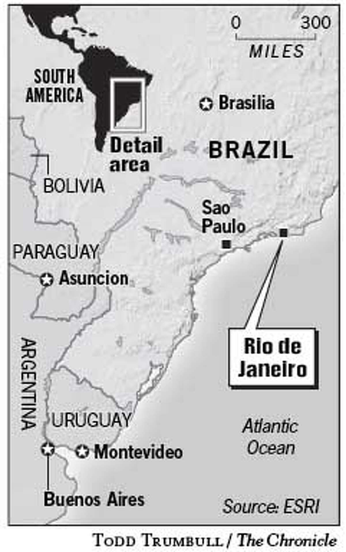 Rio de Janeiro. Chronicle graphic by Todd Trumbull