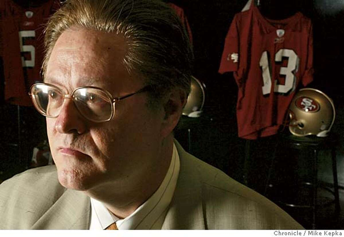york112_mkA.jpg John York, owner of the San Francisco 49ers at the 49ers headquarters in Santa Clara, says he is more busy in the off season than he is during the season, but he tries to put a priority on his family life despite a demanding schedule with the team. York is often flying back and forth from Ohio to catch events like his daughter's prom or his son's highschool football games. 5/8/03 in Santa Clara. MIKE KEPKA / The Chronicle CAT MANDATORY CREDIT FOR PHOTOG AND SF CHRONICLE/ -MAGS OUT