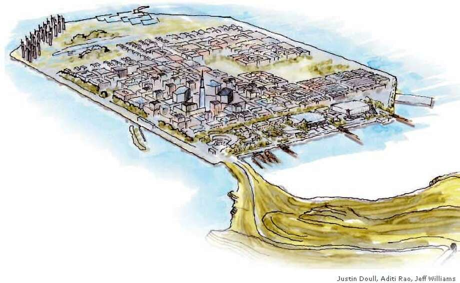 Vision of an urban island: A plan crafted by UC Berkeley students shows a cluster of windmills on the island. Illustration by Justin Doull, Aditi Rao and Jeff Williams