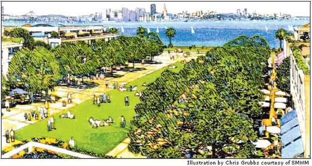 Vision of an urban island: A Treasure Island Community Development plan shows a central greensward, with a view of San Francisco. Illustration by Chris Grubbs courtesy of SMWM