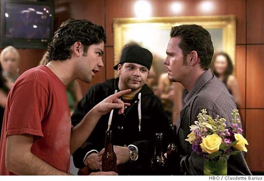 GOODMAN02 Adrian Grenier, Jerry Ferrara, Kevin Dillon in HBO's Entorage. photo: Claudette Barius/HBO