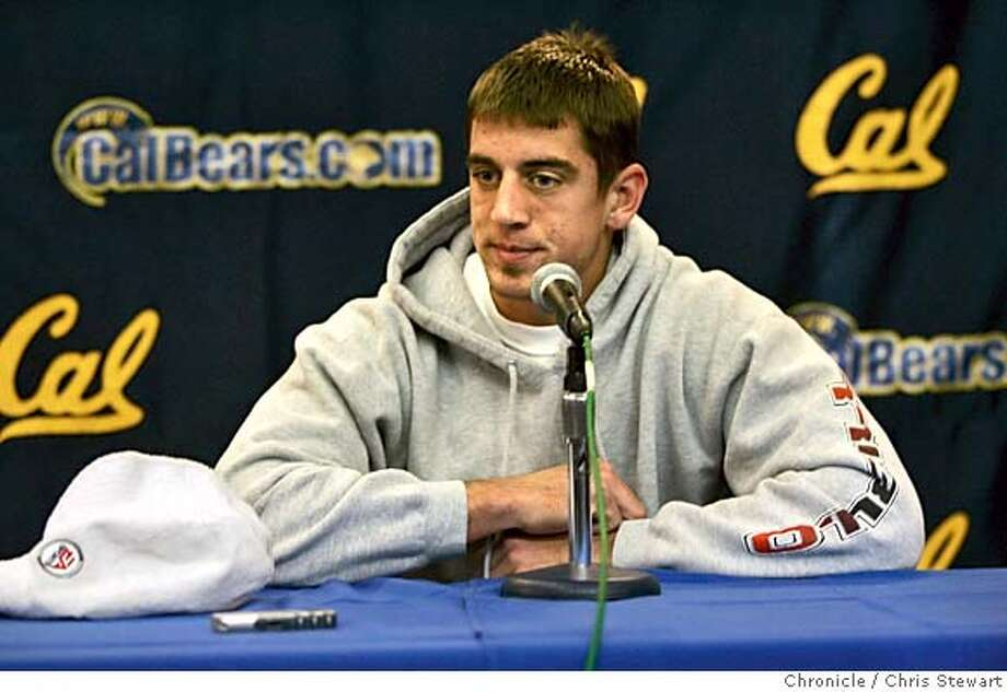 calreact06005_cs.jpg  Event on 12/5/04 in Berkeley.  Cal quarterback Aaron Rodgers reflects on the team's hopes for a Rose Bowl appearance ending today as the Texas Longhorns squeaked past California in Sunday's final BCS standings to grab an at-large berth in the four big-money bowl games. Rodgers met with the media in Cal's Hall of Fame room at Memorial Stadium. Cal will play in the Holiday Bowl on Dec. 30. The team was on the verge of the school's first Rose Bowl berth since 1959. Chris Stewart / The Chronicle MANDATORY CREDIT FOR PHOTOG AND SF CHRONICLE/ -MAGS OUT Sports#Sports#Chronicle#12/6/2004#ALL#5star##0422501758 Photo: Chris Stewart