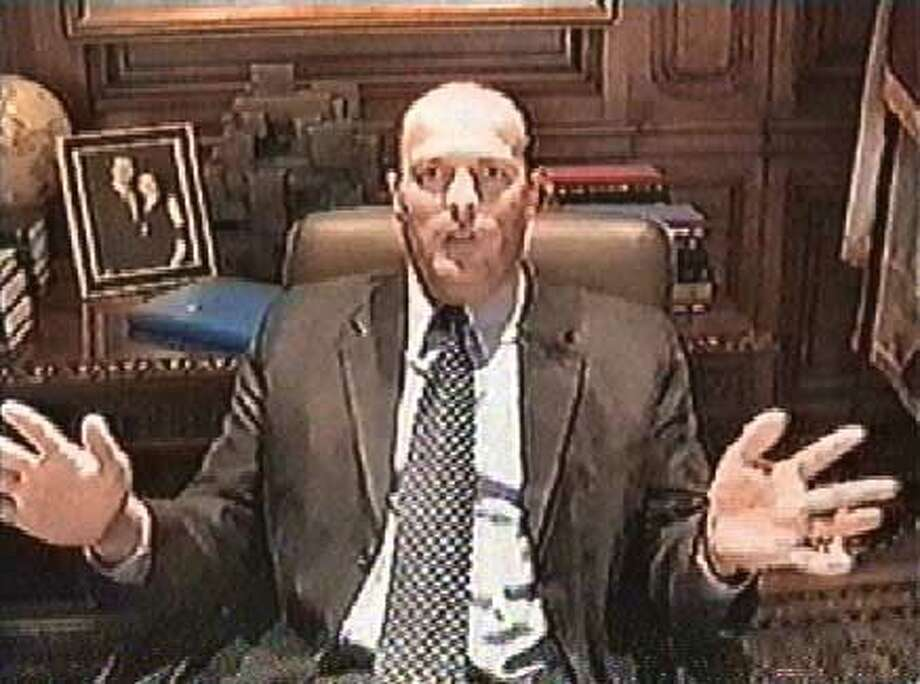 Framegrabs taken from a 49ers training video that was produced and features Public Affairs Director Kirk Reynolds. Photos are for a Matier & Ross column. Ran on: 06-01-2005  At the mayor's office: Former 49ers public relations director Kirk Reynolds plays the role of &quo;mayor&quo; at Gavin Newsom's City Hall office. The real mayor was upset when he viewed the video. Ran on: 06-01-2005 Ran on: 06-01-2005  At the mayor's office Former 49ers public relations director Kirk Reynolds plays the role of &quo;mayor&quo; at Gavin Newsom's S.F. City Hall office. The real mayor was upset when he viewed the video. Ran on: 06-01-2005