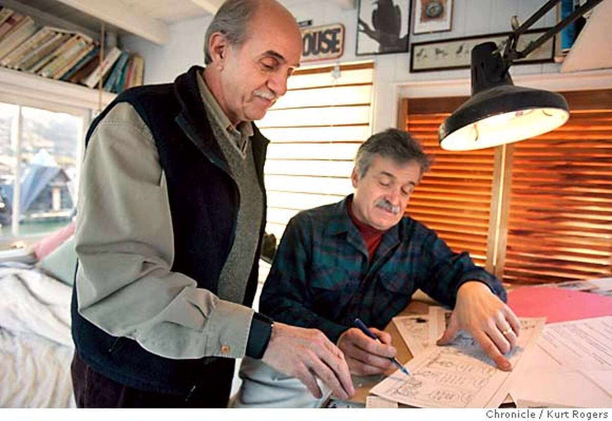 Joe Troise and Phil Frank work on a comic strip in phil's studio. Phil Frank is starting a new comic strip called Elderberries. He and his writer, Joe Troise hatched the idea for it and it's being syndicated by Universial Press Syndicate and it starts in our paper on monday ELDERBERRIES06_0170_kr.JPG 12/3/04 in Sausalito,CA. KURT ROGERS/THE CHRONICLE MANDATORY CREDIT FOR PHOTOG AND SF CHRONICLE/ -MAGS OUT Datebook#Datebook#Chronicle#12/6/2004#ALL#5star##0422498630