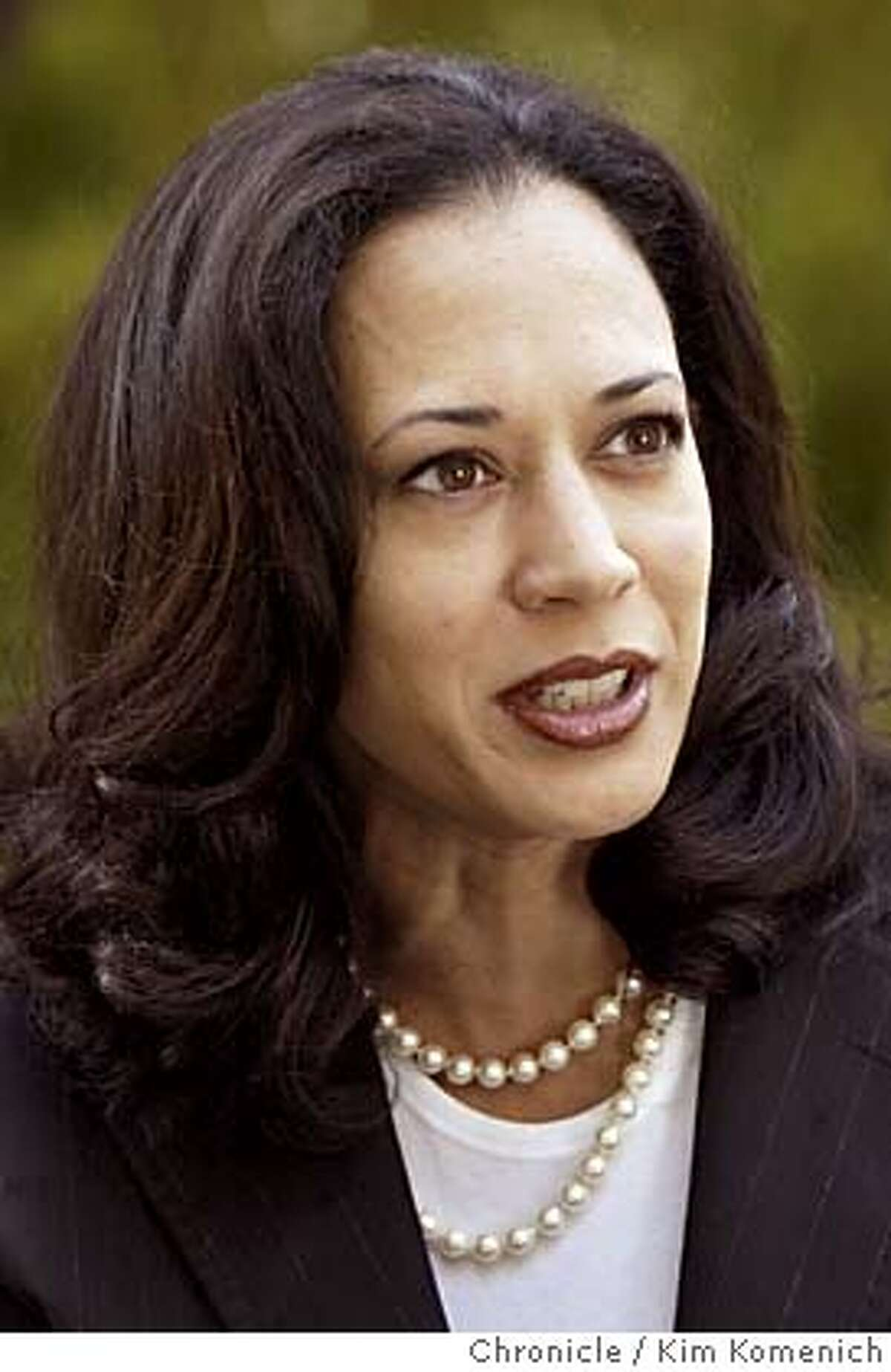 MATIERROSS_005_kk.jpg San Francisco District Attorney Kamala Harris talks with Matier and Ross. We seek a series of headshots that can be used as a triptych, I am told Chronicle photo by Kim Komenich in San Francisco. District Attorney Kamala Harris District Attorney Kamala Harris seeks a life sentence for an alleged cop killer. D.A. Kamala Harris seeks a life sentence -- but not death -- for an alleged cop killer. Kamala Harris will speak at SFUSDs parent convention about safety for students. Kamala Harris will speak at SFUSDs parent convention about safety for students. Ran on: 09-13-2004 Kamala Harris Ran on: 09-13-2004 Kamala Harris MANDATORY CREDIT FOR PHOTOG AND SF CHRONICLE/ -MAGS OUT