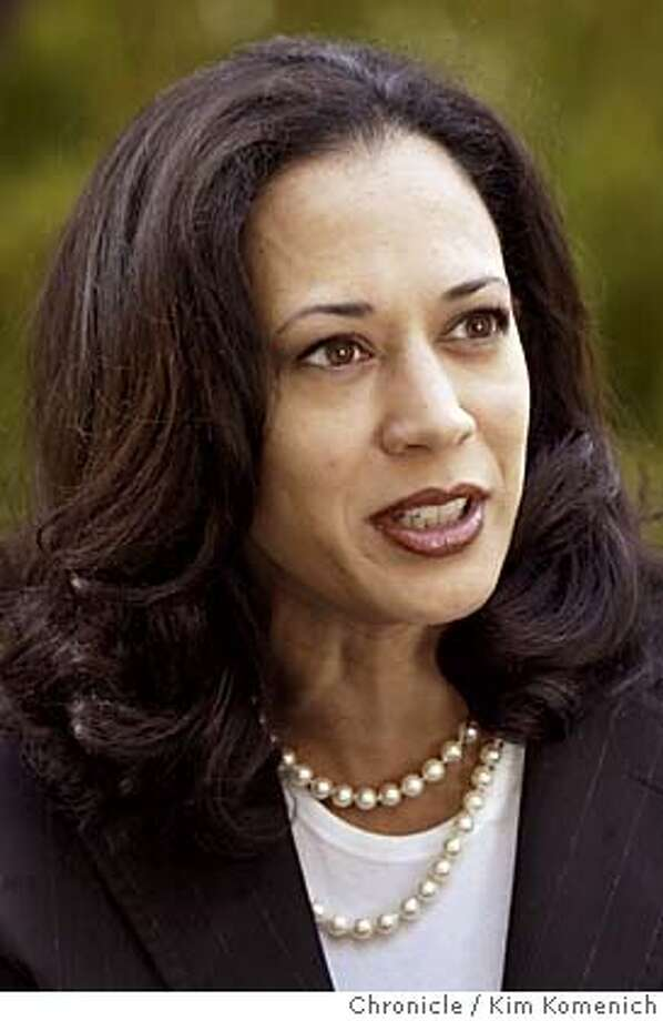MATIERROSS_005_kk.jpg  San Francisco District Attorney Kamala Harris talks with Matier and Ross. We seek a series of headshots that can be used as a triptych, I am told  Chronicle photo by Kim Komenich in San Francisco. District Attorney Kamala Harris District Attorney Kamala Harris seeks a life sentence for an alleged cop killer. D.A. Kamala Harris seeks a life sentence -- but not death -- for an alleged cop killer. Kamala Harris will speak at SFUSD's parent convention about safety for students. Kamala Harris will speak at SFUSD's parent convention about safety for students. Ran on: 09-13-2004  Kamala Harris Ran on: 09-13-2004  Kamala Harris MANDATORY CREDIT FOR PHOTOG AND SF CHRONICLE/ -MAGS OUT Photo: Kim Komenich
