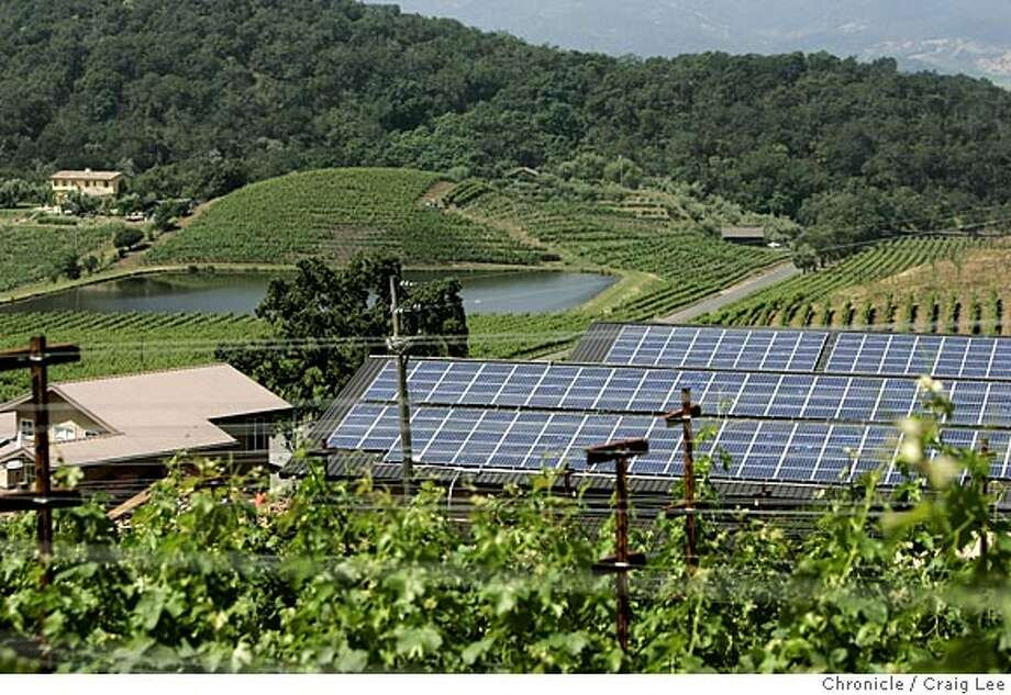 Wine cover story on sustainable grapegrowing and winemaking at Shafer Vineyards in Napa. Photo of a solar power system on top of the winery, with the irrigation pond in the background. Event on 5/26/05 in Napa. Craig Lee / The Chronicle Photo: Craig Lee