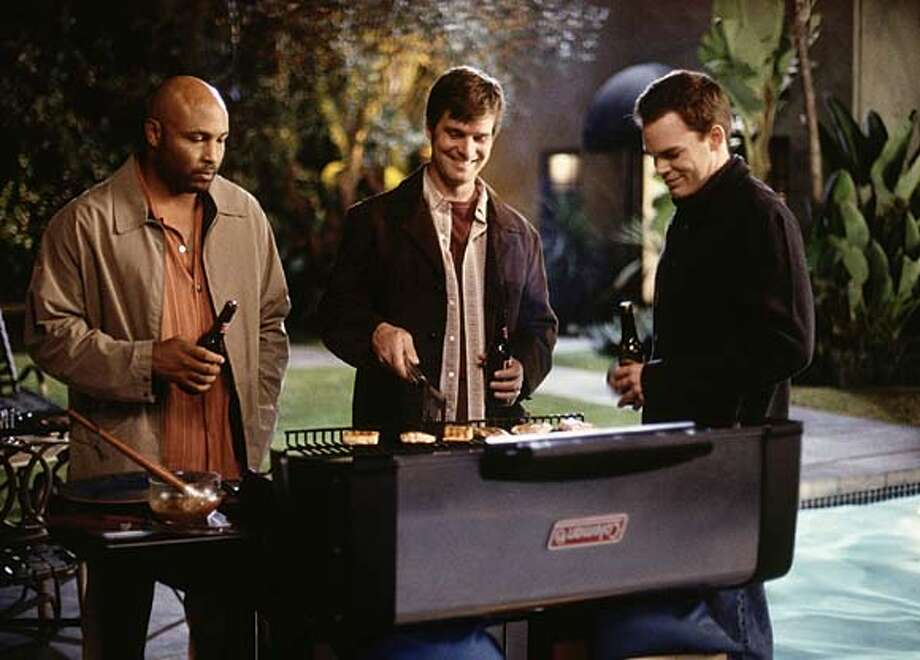 "The cast of ""Six Feet Under"" includes (from left) Mathew St. Patrick, Peter Krause and Michael C. Hall."