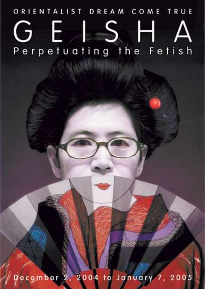 Scott Tadashi Tsuchitani in his Geisha protest poster that mimics the poster that was made for the exhibit at the Asian Art Museum Living#Living#Chronicle#12/05/2004#ALL#Advance##0422491797