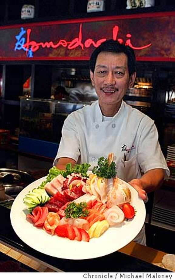 Chef James Loo displays his artistic talent with this sashimi plate.  Tomodachi Sushi Bistro  24123 Hesperian Blvd. (at Winton) IN HAYWARD  Photo by Michael Maloney / San Francisco Chronicle Photo: Michael Maloney
