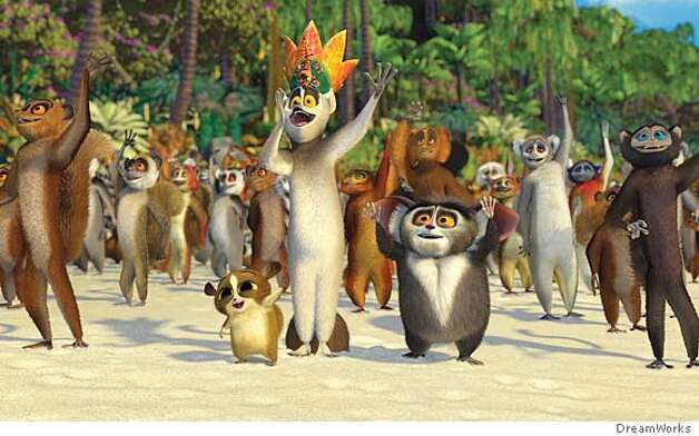 The Lemurs lead by, (center, left to right) Mort (ANDY RICHTER), King Julian (SACHA BARON COHEN) and Maurice (CEDRIC THE ENTERTAINER) greet the newcomers to their home in DreamWorks Animation�s computer-animated comedy MADAGASCAR.