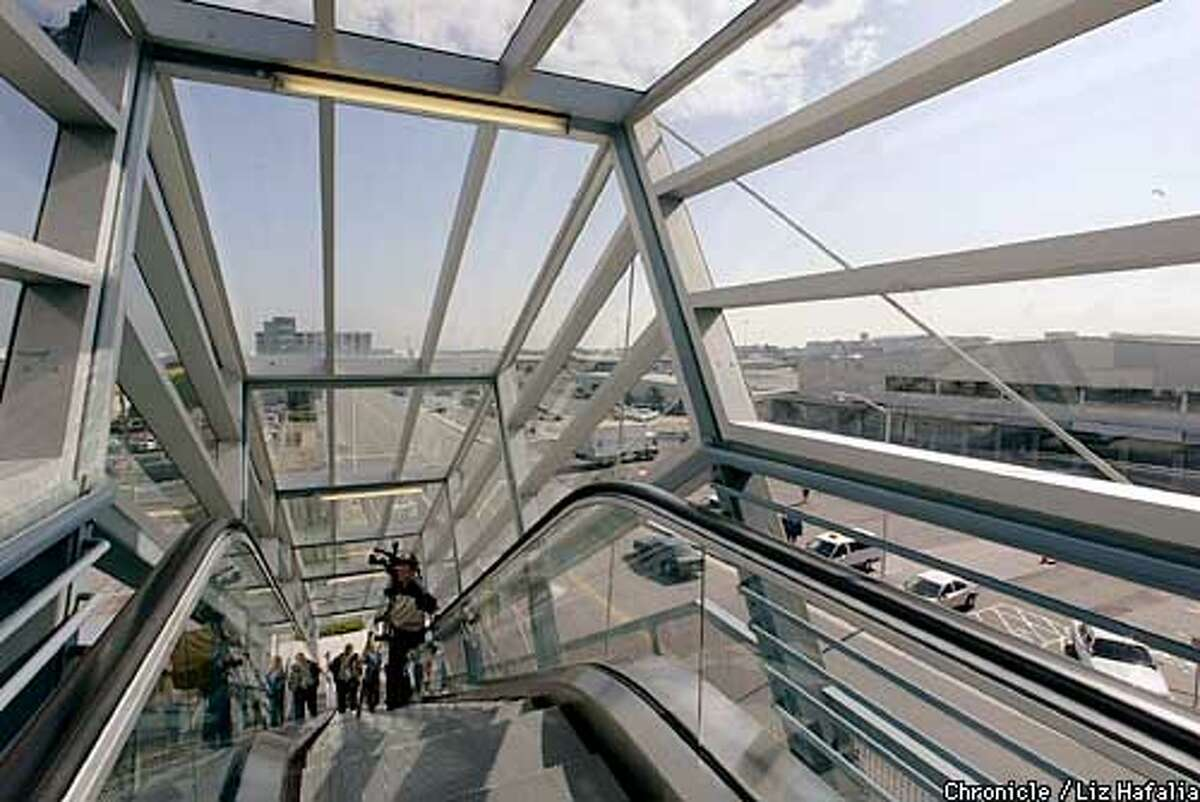 SFO's AirTrain people-mover will be opening to public use next week. All access ramps to AirTrain are nicely designed, such as this covered escalator at the West Field Road station. the system. SFO's (PHOTOGRAPHED BY LIZ HAFALIA/THE SAN FRANCISCO CHRONICLE)