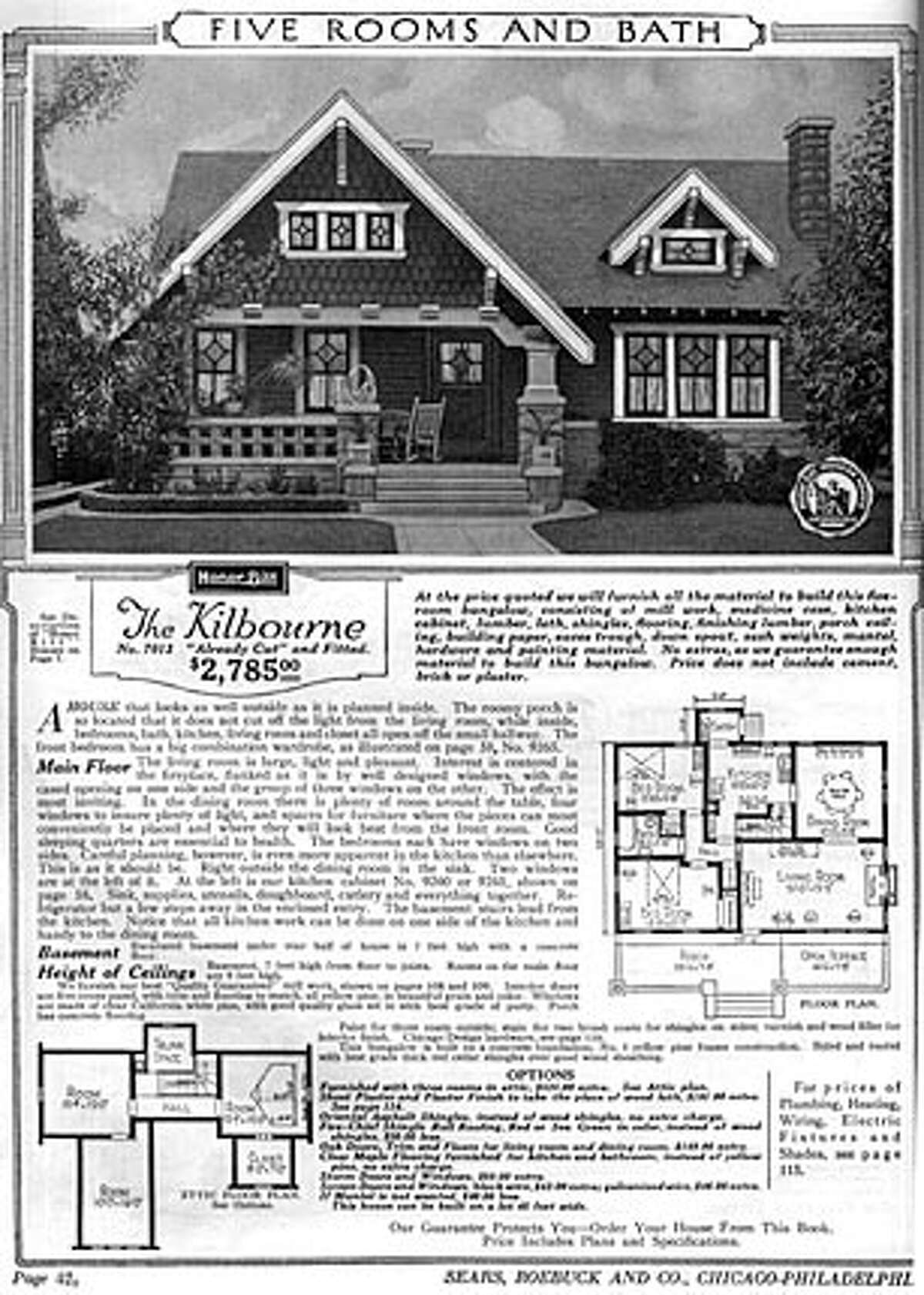 A copy of the 1921 Sears catalog ad. Emile Oxsen of Pleasanton, who has made a living selling real estate for the past 30 years, is not a man enamoured of modern architecture. So when it came time to build a home for himself, he and his wife, Marjorie, chose a design for a relatively small, (1,200 square-foot) bungalow-style home featured in a 1921 Sears catalog.