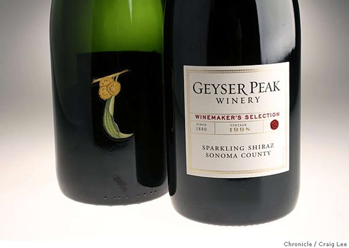 Photo to illustrate red sparkling wines made in California and Australia. Bottles of Wattle Creek Sparkling Shiraz (left) and Geyser Peak Sparkling Shiraz (right), both from California. Event on 5/13/05 in San Francisco. Craig Lee / The Chronicle