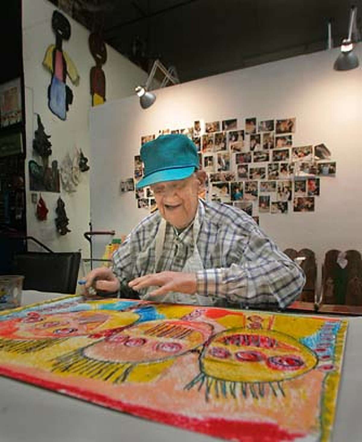 Event on 11/22/04 in San Francisco. Melvin Geisenhoffer works on a picture at Creativity Explored. Photos from Creativity Explored, a nonprofit that teaches and promotes art among people with disabilities. They are having their popular holiday art sale Dec. 3, 4, and 5. Liz Mangelsdorf / The Chronicle