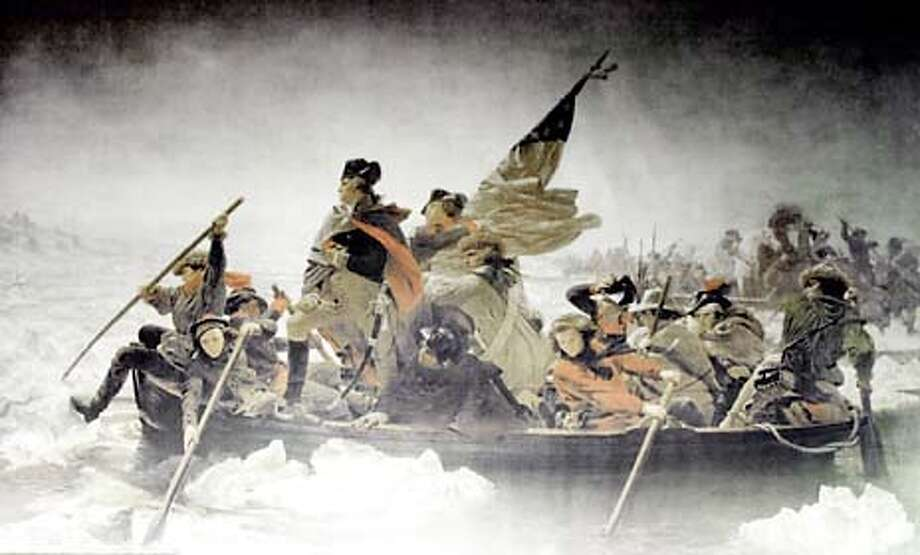 THIS IS A HANDOUT IMAGE. PLEASE VERIFY RIGHTS. A lithograph of Emanuel Leutze's famous painting of Gen. George Washington and his troops crossing the Delaware River on Christmas Eve 1776 is shown at the visitors center at Washington's Crossing State Park, Pa., Tuesday, Nov. 27, 2001. Historians enjoy debunking the paintings myths which shows Washington crossing in daylight in fine weather, proudly poised in front of Old Glory. Washington actually crossed at night in a sleet storm and the flag wasn't created until seven months later. (AP Photo) Photo: EMANUEL LEUTZE