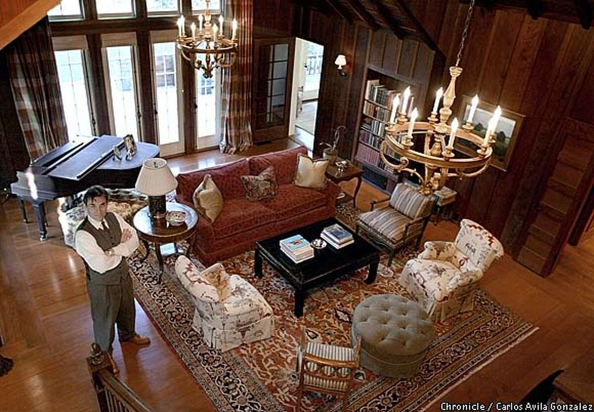 David Birka-White stands in the living room of his family's Diablo home on Monday, February, 3, 2003, where it is believed that President Herbert Hoover addressed a local womens' group. The home was once a summer home for a wealthy family, as were many in the area. The Birka-Whites restored the home and added on several rooms to accommodate their family. (BY CARLOS AVILA GONZALEZ/THE SAN FRANCISCO CHRONICLE)