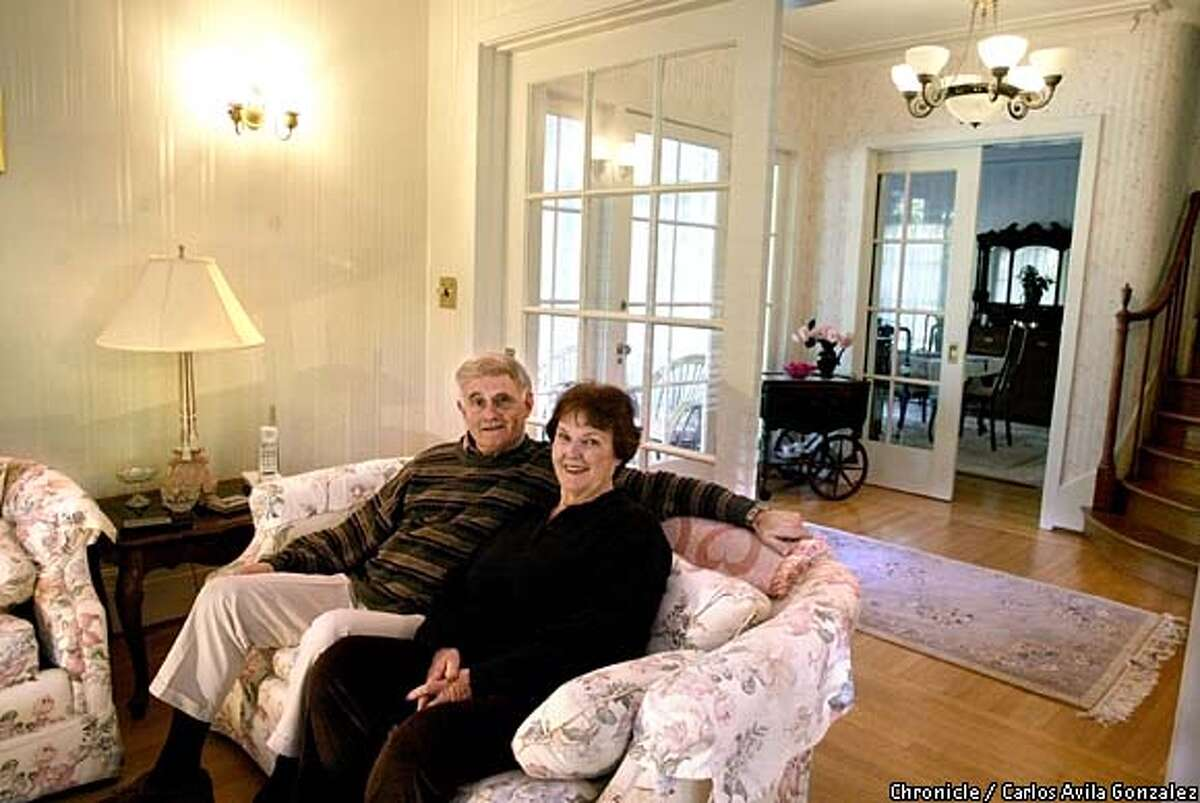 Bob and Barbara Beratta in the living room of their Diablo home on Monday, February, 3, 2003. The home was once a summer home for a wealthy family as were many in the area. (BY CARLOS AVILA GONZALEZ/THE SAN FRANCISCO CHRONICLE)