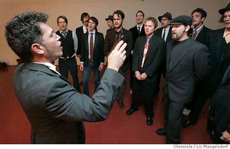 beards104_lm.JPG Event on 10/31/04 in San Francisco.  The singing group Conspiracy of Beards, an all-male caella Leonard Cohen singing group during rehearsal. Liz Mangelsdorf / The Chronicle MANDATORY CREDIT FOR PHOTOG AND SF CHRONICLE/ -MAGS OUT Datebook#Datebook#SundayDateBook#11-28-2004#ALL#Advance##0422444863 Photo: Liz Mangelsdorf