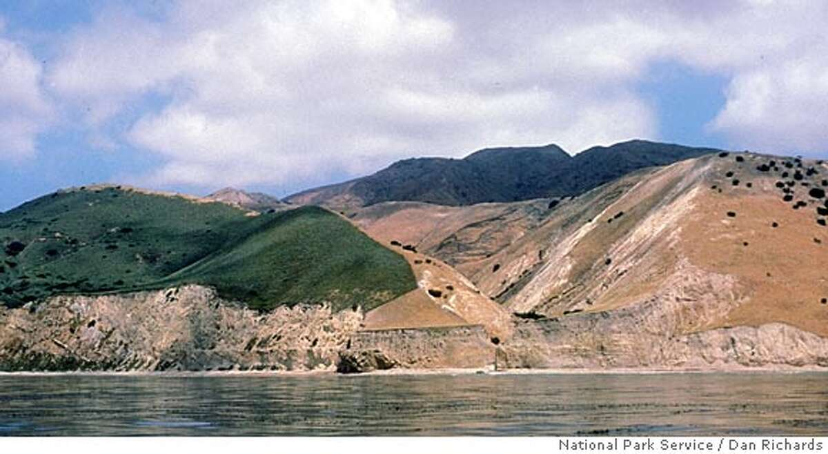 ** FILE ** In this 1986 file photo provided by the National Park Service, Santa Cruz Island is seen off the coast near Ventura, Calif. The brown area in the center of the photo, flanked by green vegetation, is where the plants have been denuded by the island's feral pig population. A program began in April 2005 to eradicate thousands of feral pigs that destroy native plants and attract predators that feed on both the pigs and the tiny, endangered Channel Island foxes, whose numbers have fallen drastically. Each pig's death brings conservationists closer to their ultimate goal of saving the endangered foxes. (AP Photo/National Park Service, Dan Richards, File) PHOTO PROVIDED BY THE NATIONAL PARK SERVICE. PHOTO TAKEN IN 1986. 7TH OF 7 PHOTOS