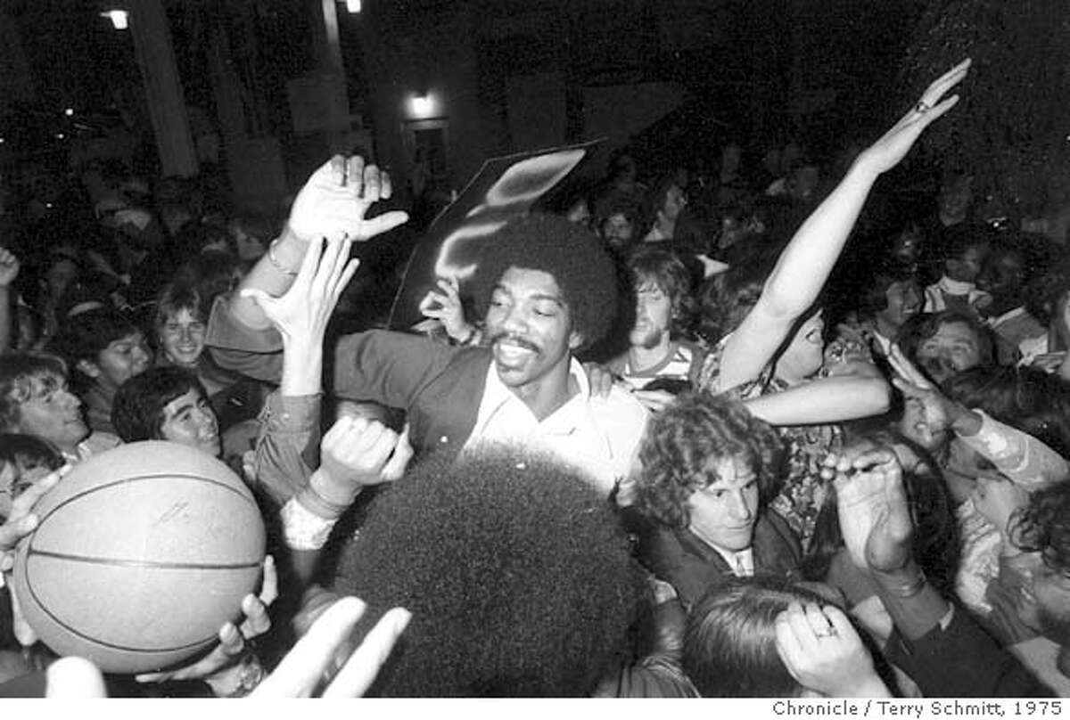 WARRIORS_PH6.JPG Golden State Warriors greet their fans at the San Francisco Airport after their playoff victory over the Washington Bullets on May 27, 1975. Terry Schmitt/ SAN FRANCISCO CHRONICLE