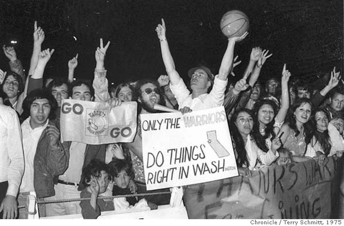 WARRIORS_PH7.JPG Golden State Warriors greet their fans at the San Francisco Airport after their playoff victory over the Washington Bullets on May 27, 1975. Terry Schmitt/ SAN FRANCISCO CHRONICLE