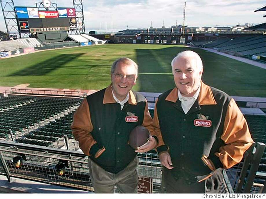 emeraldbowl010_lm.JPG Event on 11/22/04 in San Francisco.  Gary Cavalli, left, and Pat Gallagher at SBC Park, where the Emerald Bowl college football bowl game will be played. They are verteran sports-events producers and are the chief operators behind the Emerald Bowl.  Liz Mangelsdorf / The Chronicle MANDATORY CREDIT FOR PHOTOG AND SF CHRONICLE/ -MAGS OUT Sports#Sports#Chronicle#11/25/2004#ALL#5star##0422481266 Photo: Liz Mangelsdorf