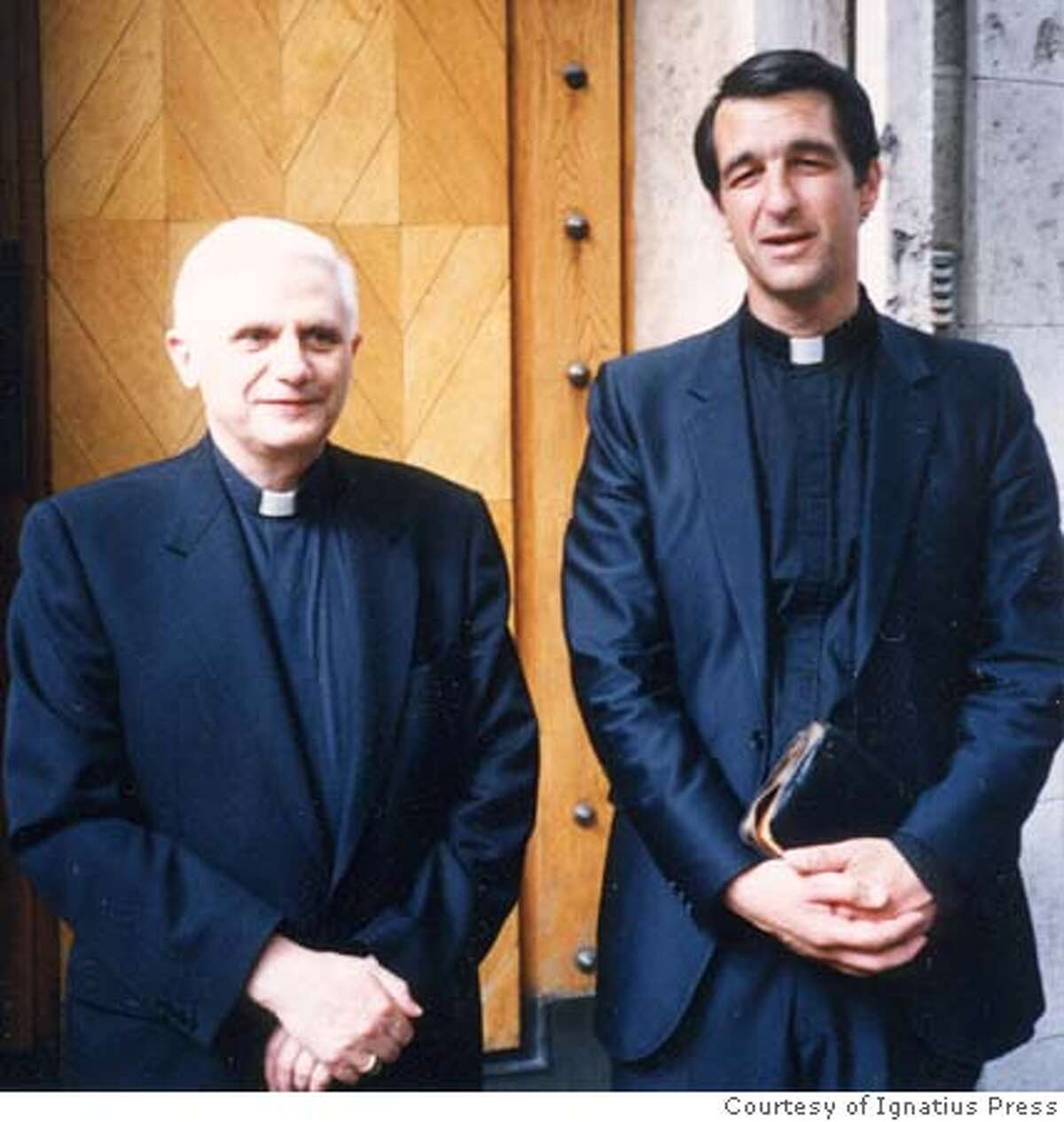 R-L: Photo of Father Joseph Fessio, S.J., (shown here with Ratzinger in 1999) Provost of Ave Maria University and Editor-in-Chief of Ignatius Press, is a longtime personal friend of Joseph Ratzinger, now Pope Benedict XVI. Photo: Courtesy of Ignatius Press