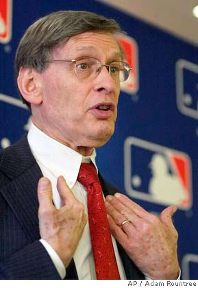 Major League Baseball Commissioner Bud Selig gestures while speaking to the media after MLBs quarterly ownership meeting in New York Wednesday, May 11, 2005. Selig briefed 30 club owners on the policy regarding steroid usage that he submitted to the Major League Baseball Association on April 25, 2005. (AP Photo/Adam Rountree) Photo: ADAM ROUNTREE