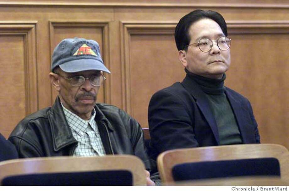 PLANNING2-01MAR00-MN-BW--Jimmy Jen, right, and Bob McCurn, left, sat together at a Planning Commission meeting recently. By Brant Ward/Chronicle  ALSO RAN: 04/08/2004 CAT Photo: BRANT WARD