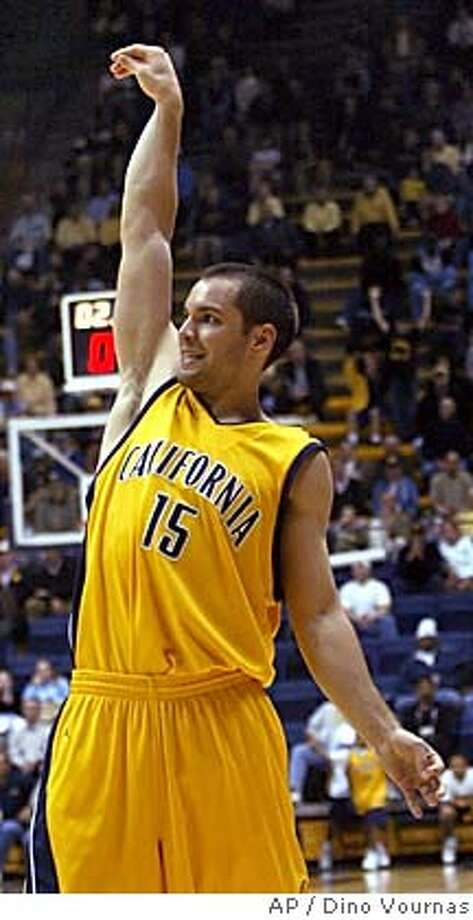 California's Richard Midgley celebrates after hitting a 3-pointer as time expires in the first half against Southern, Tuesday, Nov. 23, 2004, in Berkeley, Calif. (AP Photo/Dino Vournas) Sports#Sports#Chronicle#11/24/2004#ALL#5star##0422483211 Photo: DINO VOURNAS