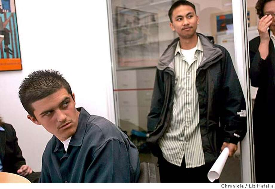 The ACLU announces the settlement of a lawsuit accusing officials at a Union City high school of illegally rounding up minority students and searching them as part of a crackdown on gang activity. Plaintiffs Victor Munoz (left) and Brian Benitez (right). Shot in San Francisco on 5/18/05. Photo: Liz Hafalia