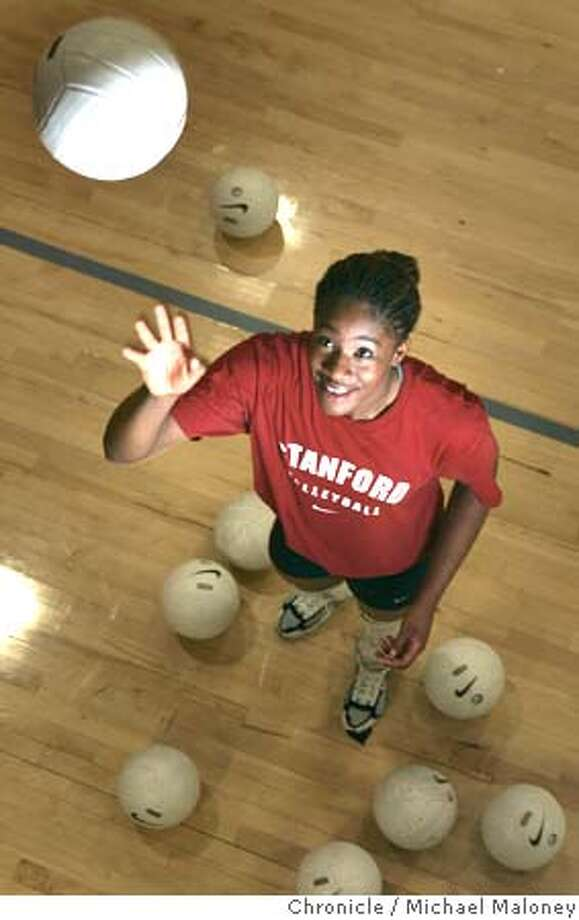 OLYSTANFORD2_007_MJM.jpg  Ogonna Nnamani is a u.s. Olympian volleyball player in college at Stanford. She is one of four athletes we're catching up with for a little Olympic retrospective/where are they now feature. Photo by Michael Maloney / San Francisco Chronicle MANDATORY CREDIT FOR PHOTOG AND SF CHRONICLE/ -MAGS OUT Sports#Sports#Chronicle#11/21/2004#ALL#2star##0422474290 Photo: Michael Maloney