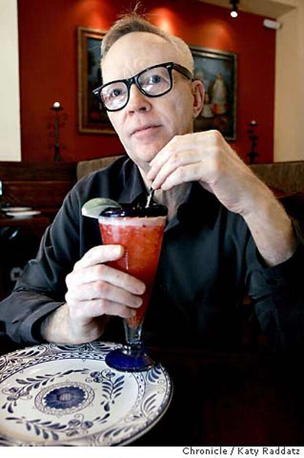 COOKSNIGHTOUT21_rad.jpg SHOWN: Skip Young, a chef and a co-founder of ASIA restaurant in San Francisco, enjoys a raspberry margarita at one of his favorite places, Colibri Mexican Bistro, on Geary in San Francisco. Katy Raddatz / The Chronicle MANDATORY CREDIT FOR PHOTOG AND SF CHRONICLE/ -MAGS OUT Datebook#Datebook#SundayDateBook#11-21-2004#ALL#Advance##0422467463 Photo: Katy Raddatz