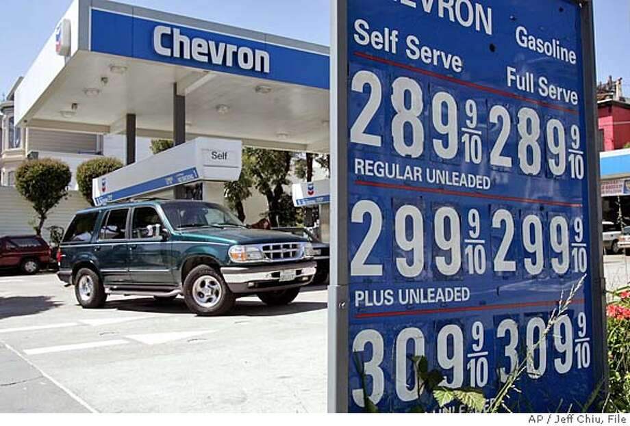 ** FILE ** In a file photo the gasoline price is over $3 for premium gas at a Chevron station in San Francisco, Thursday April 14, 2005, as a SUV arrives at the pumps. The AP-Ipsos consumer confidence index came in at 78.2 in May, according to figures released Friday, May 6, 2005. Consumer confidence sank over the past month as surging energy bills and higher borrowing costs led people to worry about inflation and the condition of the economy generally. (AP Photo/Jeff Chiu) APRIL 14, 2005, PHOTO Photo: JEFF CHIU