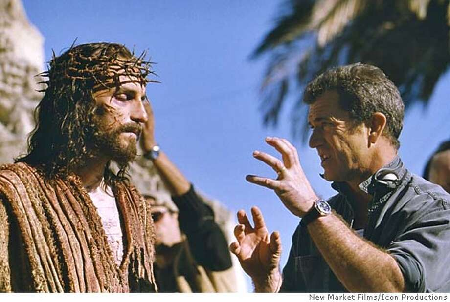 "Actor Jim Caviezel, who portrays Jesus, talks with producer and director Mel Gibson (R) on the set of the new film ""The Passion of The Christ"", in this undated publicity photograph. The film is a vivid depiction of the last twelve hours of the life of Jesus Christ. The film opens Febraury 25, 2004. REUTERS/New Market Films/Icon Productions/Handout 0 Abraham Foxman of the National Anti-Defamation League said the Catholic Church had a responsibility to set the record straight. ProductName	Chronicle Datebook#Datebook#Chronicle#2/19/2004#ALL#Advance##0421616080 Datebook#Datebook#Chronicle#11/22/2004#ALL#Advance##0421616080 Photo: HO"